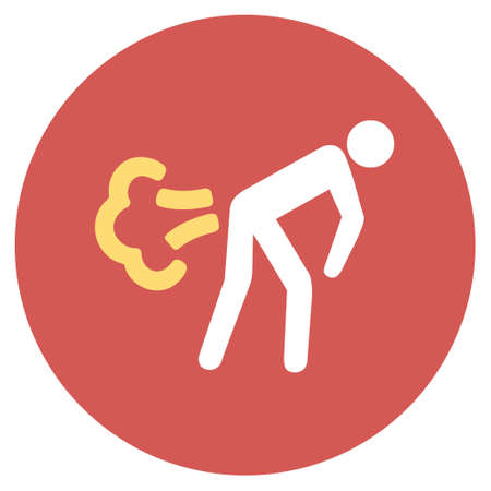 diarrhoea: Fart glyph icon. Image style is a flat light icon symbol on a round red button. Fart symbol.