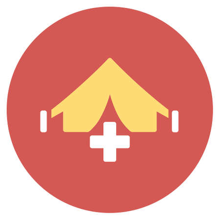 filed: Field Hospital glyph icon. Image style is a flat light icon symbol on a round red button. Filed Hospital symbol.