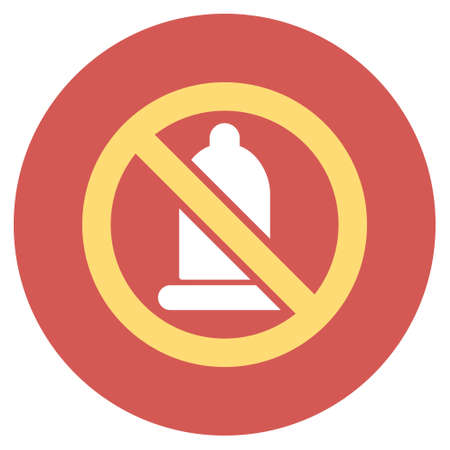 Forbidden Condom glyph icon. Image style is a flat light icon symbol on a round red button. Forbidden Condom symbol. Stock Photo