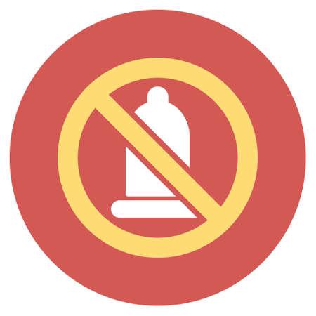 condones: Prohibida icono del condón glifo. estilo de la imagen es un símbolo de icono de luz plana en un botón rojo redondo. Condón símbolo prohibido.
