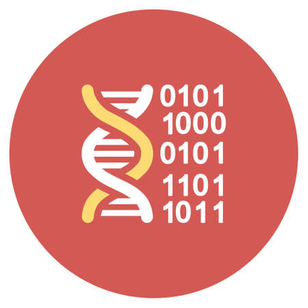 genom: Genome Code glyph icon. Image style is a flat light icon symbol on a round red button. Genome Code symbol. Stock Photo