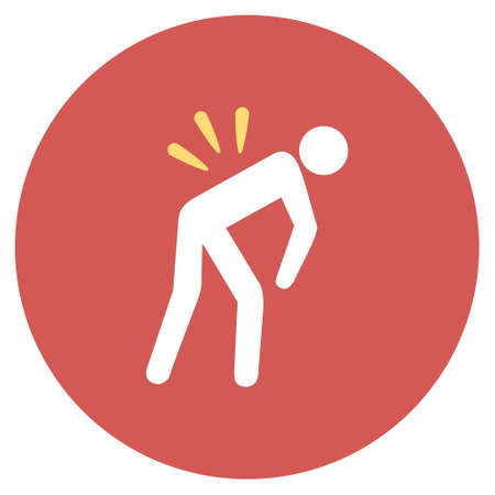 Backache vector icon. Image style is a flat light icon symbol on a round red button. Backache symbol. Illustration