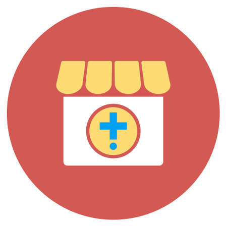 polyclinic: Drugstore vector icon. Image style is a flat light icon symbol on a round red button. Drugstore symbol.