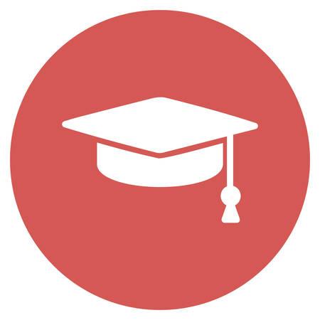 Abschluss-Kappen-Vektor-Symbol. Bild Stil ist ein flaches Licht Symbol Symbol auf einem runden roten Knopf. Abschluss-Kappen-Symbol.