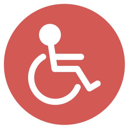 paralyze: Handicapped vector icon. Image style is a flat light icon symbol on a round red button. Handicapped symbol.