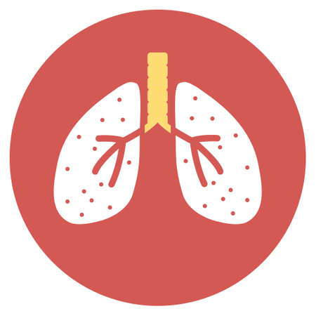 autopsy: Lungs vector icon. Image style is a flat light icon symbol on a round red button. Lungs symbol.