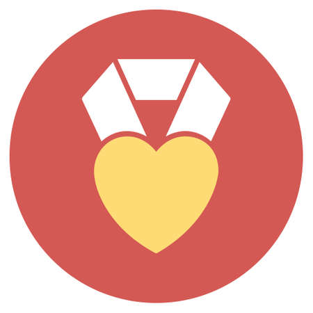 medal like: Heart Award vector icon. Image style is a flat light icon symbol on a round red button. Heart Award symbol.