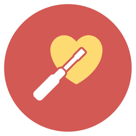 Heart Tuning vector icon. Image style is a flat light icon symbol on a round red button. Heart Tuning symbol. Illustration