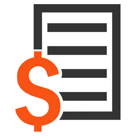 numerate: Contract vector icon. Style is bicolor flat symbol, orange and gray colors, white background. Illustration