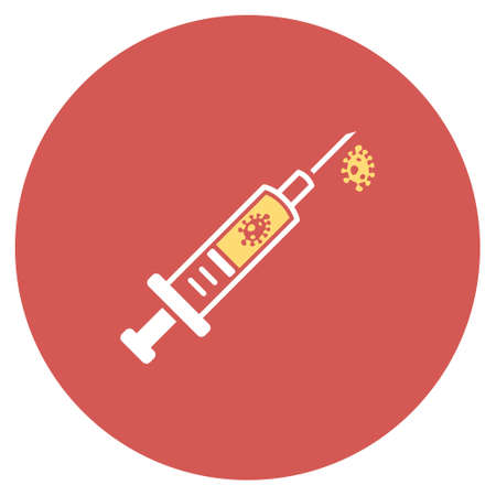 infection: Infection Injection vector icon. Image style is a flat light icon symbol on a round red button. Infection Injection symbol.