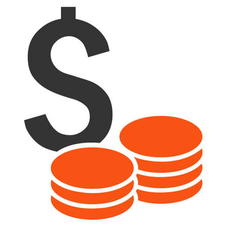 price gain: Dollar Cash vector icon. Style is bicolor flat symbol, orange and gray colors, white background. Illustration