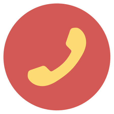 phone receiver: Phone Receiver vector icon. Image style is a flat light icon symbol on a round red button. Phone Receiver symbol.