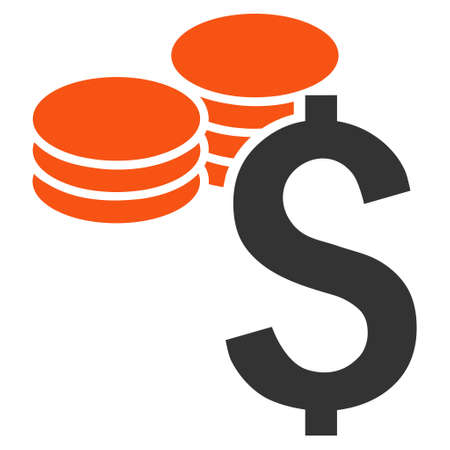 dollar coins: Dollar Coins vector icon. Style is bicolor flat symbol, orange and gray colors, white background. Illustration