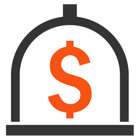 Dollar Deposit vector icon. Style is bicolor flat symbol, orange and gray colors, white background.