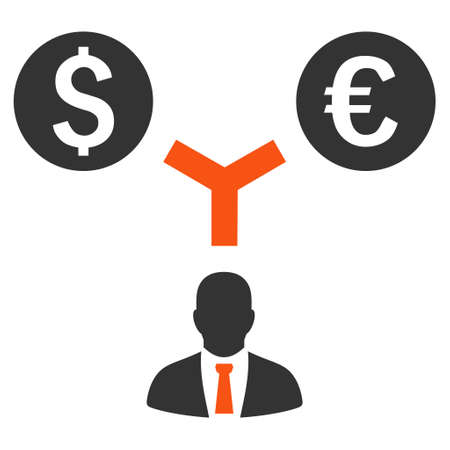 marketer: Currency Management vector icon. Style is bicolor flat symbol, orange and gray colors, white background.