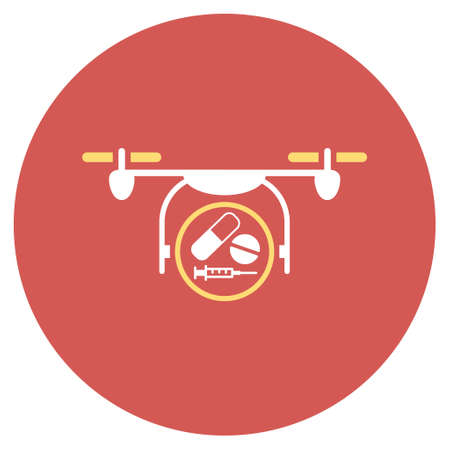 meditation help: Medication Quadcopter vector icon. Image style is a flat light icon symbol on a round red button. Medication Quadcopter symbol. Illustration
