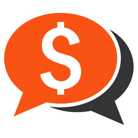 sms payment: Financial Chat vector icon. Style is bicolor flat symbol, orange and gray colors, white background.