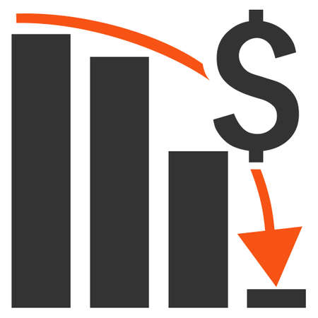 regress: Financial Crisis vector icon. Style is bicolor flat symbol, orange and gray colors, white background.