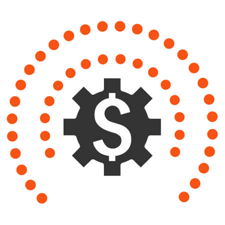 wheel guard: Financial Industry Protection vector icon. Style is bicolor flat symbol, orange and gray colors, white background.
