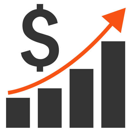 economic growth: Financial Report vector icon. Style is bicolor flat symbol, orange and gray colors, white background.
