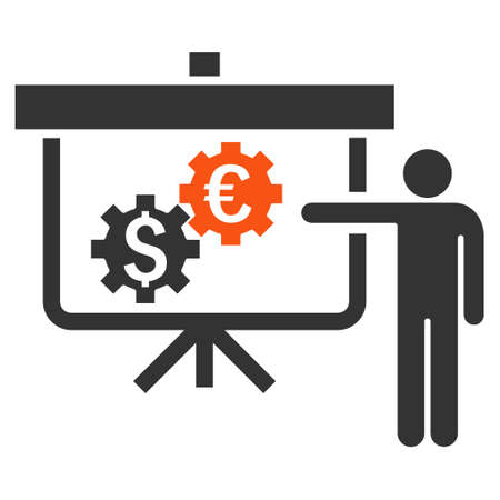slideshow: International Banking Project vector icon. Style is bicolor flat symbol, orange and gray colors, white background.