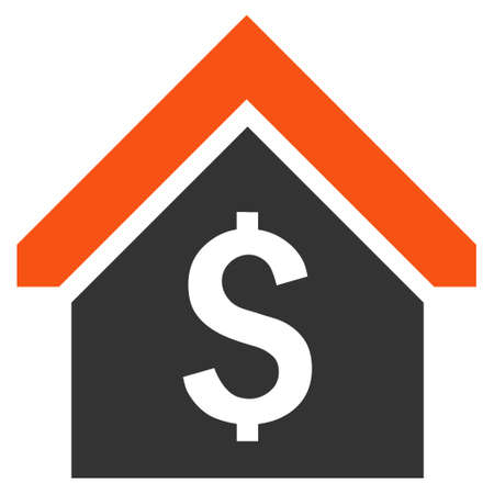 corporative: Loan Mortgage vector icon. Style is bicolor flat symbol, orange and gray colors, white background.