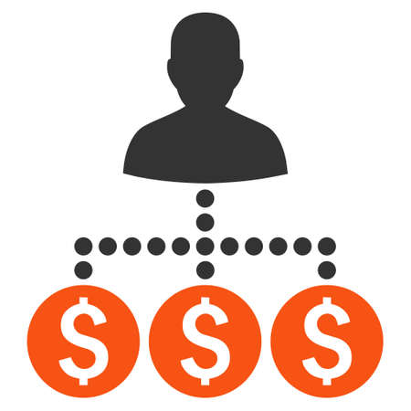 collector: Money Collector vector icon. Style is bicolor flat symbol, orange and gray colors, white background.