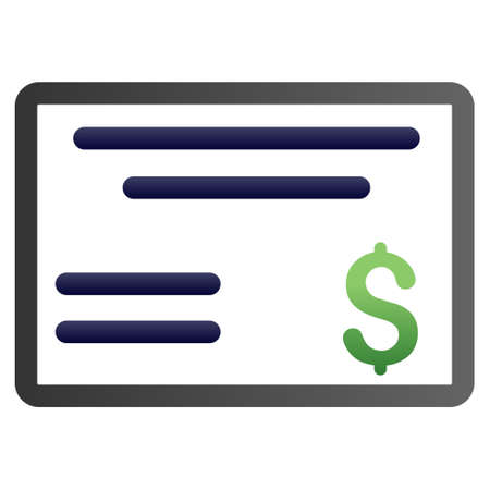 chequebook: Cheque vector toolbar icon for software design. Style is a gradient icon symbol on a white background.
