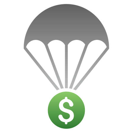 skydiving: Financial Parachute vector toolbar icon for software design. Style is a gradient icon symbol on a white background. Illustration