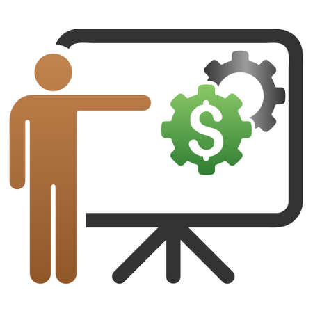Business Project Presentation vector toolbar icon for software design. Style is a gradient icon symbol on a white background. Illustration