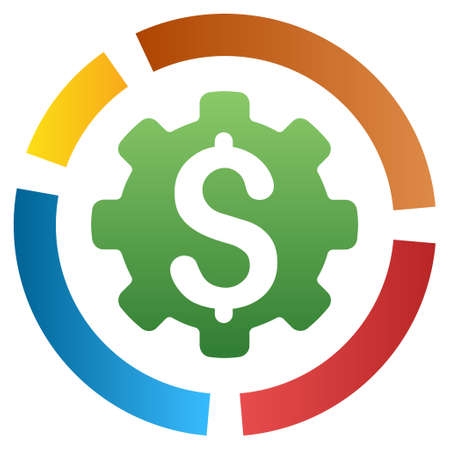 configure: Configure Financial Diagram vector toolbar icon for software design. Style is a gradient icon symbol on a white background.