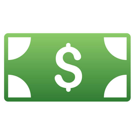 banknote: Dollar Banknote vector toolbar icon for software design. Style is a gradient icon symbol on a white background.