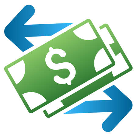 spend: Spend Banknotes vector toolbar icon for software design. Style is a gradient icon symbol on a white background.