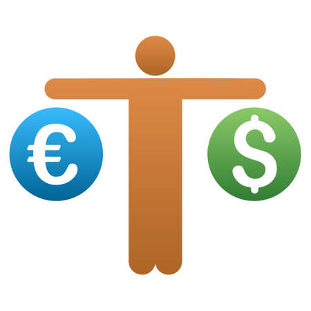 trader: Trader Compare Dollar and Euro vector toolbar icon for software design. Style is a gradient icon symbol on a white background.