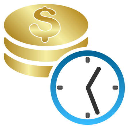 timed: Coins and Time vector toolbar icon for software design. Style is a gradient icon symbol on a white background.