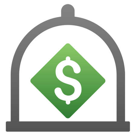 secured property: Dollar Deposit vector toolbar icon for software design. Style is a gradient icon symbol on a white background. Illustration