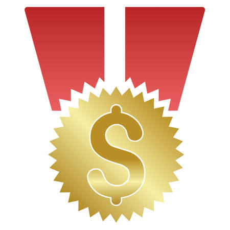 favorite number: Dollar Medal vector toolbar icon for software design. Style is a gradient icon symbol on a white background.