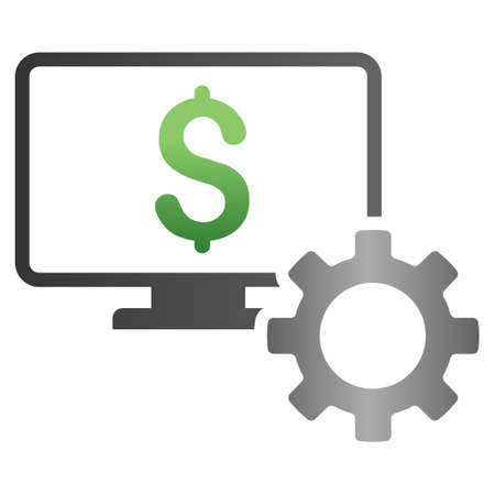 configuration: Online Bank Configuration vector toolbar icon for software design. Style is a gradient icon symbol on a white background.