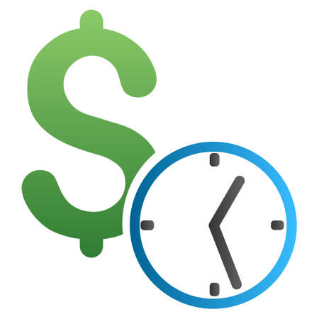 timed: Credit vector toolbar icon for software design. Style is a gradient icon symbol on a white background. Illustration