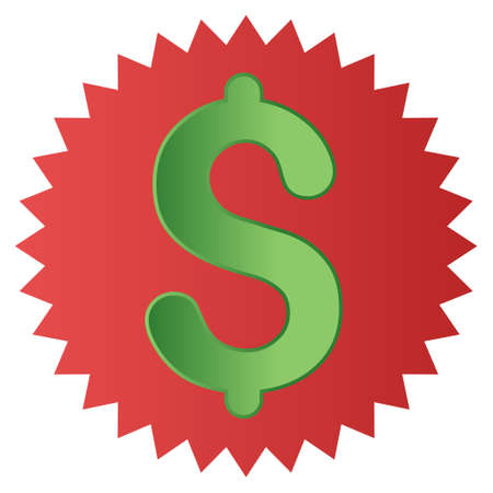 toolbar: Dollar Warranty Stamp vector toolbar icon for software design. Style is a gradient icon symbol on a white background. Illustration