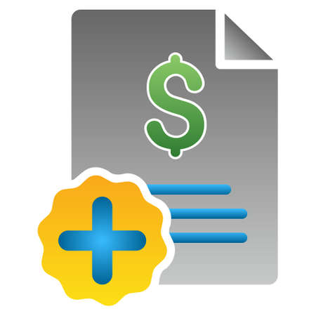 invoice: Medical Invoice vector toolbar icon for software design. Style is a gradient icon symbol on a white background.