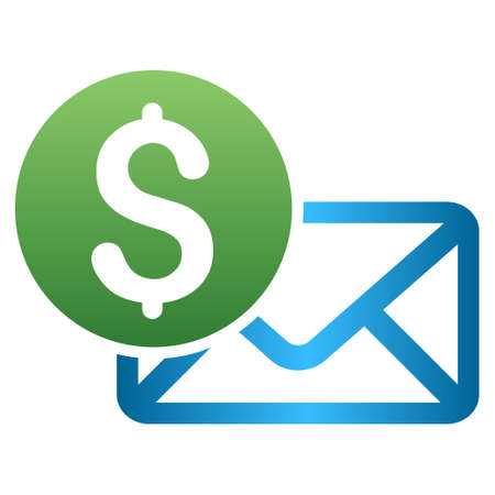 sms payment: Payment Message Envelope vector toolbar icon for software design. Style is a gradient icon symbol on a white background.