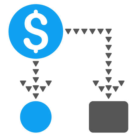cashflow: Cashflow Scheme vector icon. Style is bicolor flat icon symbol, blue and gray colors, white background, triangle dots.