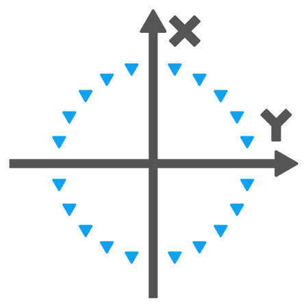 coordinates: Dotted Circle Plot vector icon. Style is bicolor flat icon symbol, blue and gray colors, white background, triangle dots. Illustration