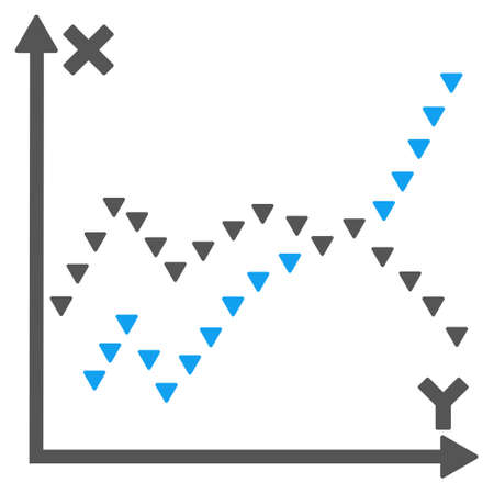 functions: Dotted Functions Plot vector icon. Style is bicolor flat icon symbol, blue and gray colors, white background, triangle dots.