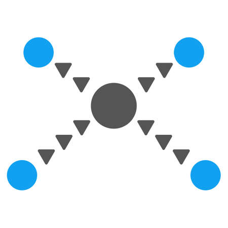 interface scheme: Dotted Links vector icon. Style is bicolor flat icon symbol, blue and gray colors, white background, triangle dots. Illustration