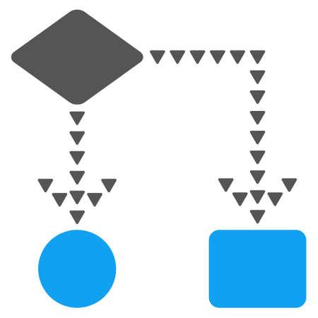 Algorithme Flowchart vecteur icône. Le style est bicolor icône plat symbole, couleurs bleu et gris, fond blanc, points de triangle.