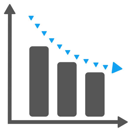 reduce: Dotted Negative Trend vector icon. Style is bicolor flat icon symbol, blue and gray colors, white background, triangle dots.