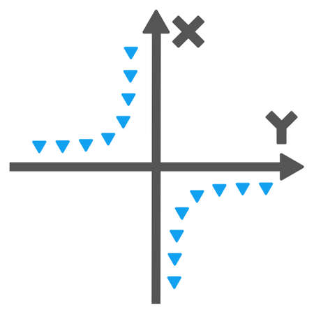 and plot: Dotted Hyperbola Plot glyph icon. Style is bicolor flat icon symbol, blue and gray colors, white background, triangle dots.