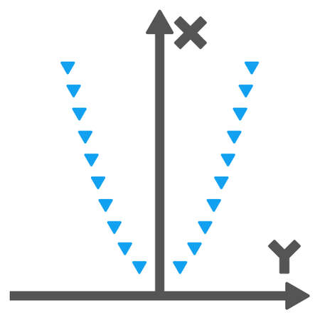 parabola: Dotted Parabola Plot glyph icon. Style is bicolor flat icon symbol, blue and gray colors, white background, triangle dots.
